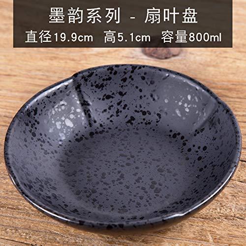 japonais en céramique Vaisselle Plat froid rond Deep Disc Assiette creuse Petit plat Plateau Assiette à goûter Assiettes à fruits Ménage Assiette, 20,3 cm
