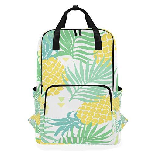 ALARGE Mochila para ordenador portátil, diseño de hojas de palma, de piña, de negocios, escuela, de lona, para viajes, senderismo, camping, mochila para estudiantes, adolescentes