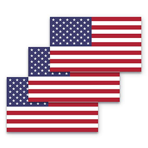 3x5 American Flag Sticker 3-Pack US Flag Sticker US Sticker Made with Durable, Waterproof Materials, American Flag Bumper Sticker , USA Sticker , Patriotic Bumper Sticker , America Bumper Sticker