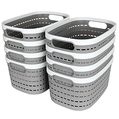 Shanqian - Juego de 8 cestas de almacenamiento de plástico ovalado, cestas de almacenamiento de escritorio para cocina, cuarto de baño, habitación de los niños, 245 x 170 x 120 mm (gris claro)