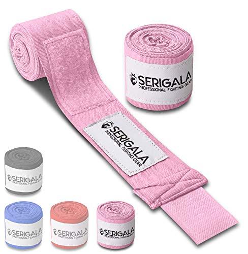 Serigala 4,5m Boxbandagen mit Daumenschlaufe - Halb elastische Bandagen Boxen mit extra breitem Klettverschluss - Kampfsport Bandagen für Thaiboxen, Kickboxen, MMA und Muay Thai Rosa