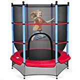 DREAMADE Gartentrampolin Kinder, Kindertrampolin Gartentrampolin für Indoor und Outdoor, Trampolin mit Sicherheitsnetz und Randabdeckung, Fitnesstrampolin, Farbewahl (Hellblau)