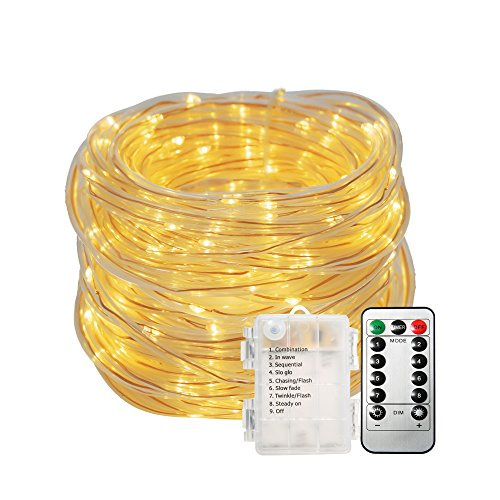 GLIME 10M Stringa luce 8 Modalità 100 LED Tubo di Luce Catene Luminose Luce Decorativa Batteria IP65 Impermeabile per Telecomando per La Decorazione Casa Matrimonio Natale Partito bianco caldo