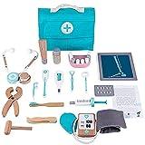 obzk Doctor Bag niños Madera, Doctor Set Estuche pediátrico con 18 TLG Monitor de presión Arterial de Madera Estetoscopio Doctor Role Playing Gift para niñas y niños