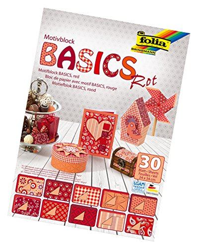 folia 46249 - Motivblock Basics rot sortiert, 24 x 34 cm, 30 Blatt - Grundlage für hochwertige Bastelarbeiten