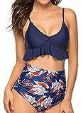 Tuopuda Costume da Bagno Due Pezzi Donna Triangolo Brasiliana Bikini Sexy Halter Regolabile Costumi da Mare Push Up Imbottito Reggiseno Abiti da Spiaggia Vita Alta Fondo Bikini Beachwear