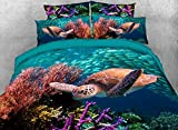 Qucover Twin Size Bed Comforter Sets with Sham All Season 3D Blue Sea Turtle Quilt Set for Pre Teen Children 3 Pieces