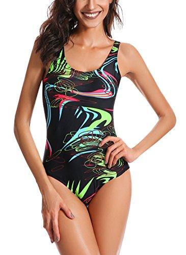 Feoya - Bañador Deportivo para Mujer con Tirantes Ajustables Traje de Natación de Una Pieza Sexy Ropa de Baño Estampado - Negro - ES 46