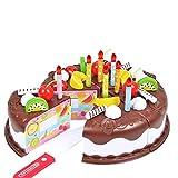 Nicetruc Torta de los niños Juguetes 37 Piezas Juego de imaginación alimento DIY de Corte Fiesta de cumpleaños de la Torta con Velas Juguetes Set de Cocina de Juguete Educativo Brown