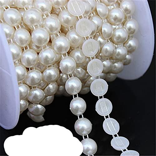 Micui 1-5 yardas de múltiples tamaños ABS cuentas de perlas de imitación adorno de cadena para bricolaje vestido de boda apliques de disfraces accesorios artesanales-10 mm 2 yardas