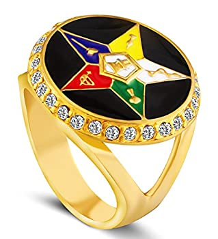 LILILEO Jewelry Titanium Steel Ring Five-Pointed Star Diamond Masonic Logo For Men s Rings