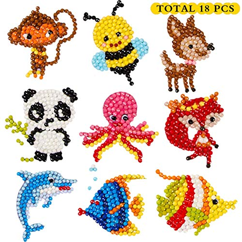 Sinceroduct 5D DIY Diamond Painting Stickers Kits for Kids and Adult Beginners, Stick Paint with Diamonds by Numbers,Easy to DIY ,Cute Animals, Sea World-18 PCS