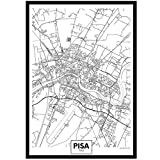 artaslf Pisa Schwarz-Weiß-Karte Stadt Kunst Poster drucken