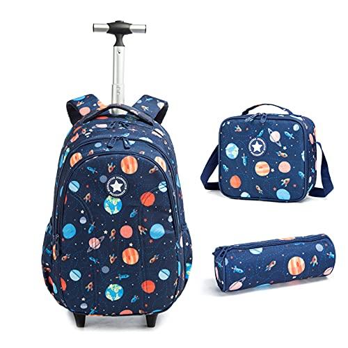 Zaino 3 in 1 per bambini, zaino per computer portatile, ruote per la scuola, con borsa per il pranzo, astuccio multifunzione, trolley di grandi dimensioni, per viaggi scolastici