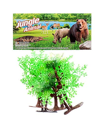 THE UM24 5PC Mini Toy Jungle Trees Wide Bushy Trees and Tall Trees