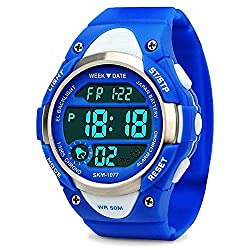 small Sports digital clock for boys and girls, waterproof electronic children's clock with LED light and stopwatch