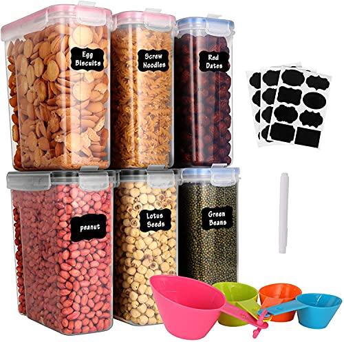 GoMaihe 4L Botes Cocina, Juego de 6 Piezas de Recipiente de Botes Cocina Almacenaje de Plástico de Alimentos Sellados con Tapa, Se Utiliza para Almacenar Cereales, Pasta, Arroz, Harina, Etc