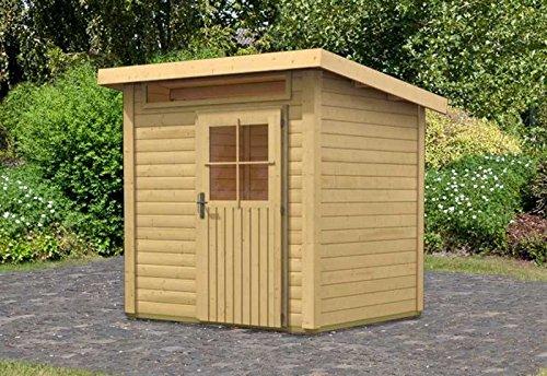 Karibu Woodfeeling Gartenhaus 28 mm Kulpin 2 natur 28 mm Außenmaß (B x T): 204 x 173 cm Dachstand (B x T): 234 x 197 cm Wandstärke: 28 mm umbauter Raum: 7,0 cbm Bauweise: Systembauweise Ausführung: naturbelassen