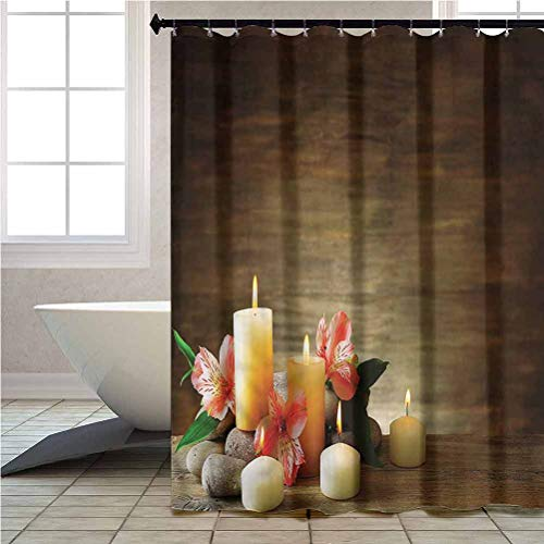 Aishare Store Shower Curtain Set Spa Candles Wellbeing Unity Waterproof Home Decor W69xxL70 Inches