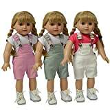 The New York Doll Collection Set de 3 Multi Color Muñeca Tela Asargada Peto - Rosado, Gris y Blanco Peto - Para Moda Niña Muñecas - Encaja 18 pulgadas / 46 cm Muñecas - Muñeca Ropa - Muñeca Accesorios