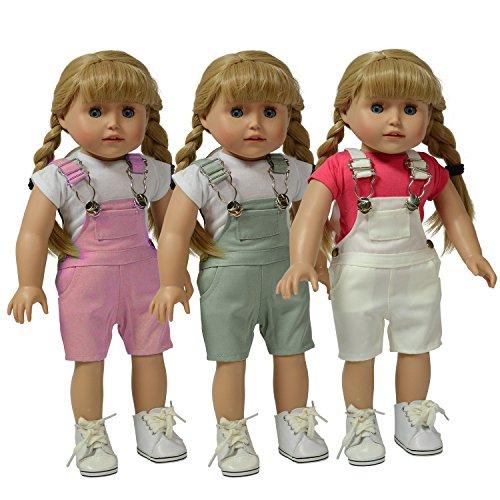 The New York Doll Collection D333 set met 3 meerkleurige overalls – roze, grijs en wit – voor modieuze meisjes geschikt voor alle 46 cm grote poppen, poppenkleding, poppenaccessoires