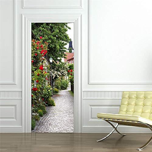 YQLKD 3D Pegatinas Decorativas De Puerta Plantas Flores Pegatinas para Puertas De Pared DIY Floral PVC Calcomanías para El Hogar Mural