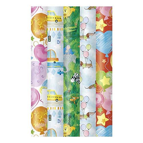 ARTEBENE Geschenkpapier Geschenkpapierbogen Geschenkpapierrolle Rolle 5er Set Kinder Ballons Auto Flugzeug Tiere Zebra Giraffe Löwe Elefant Krokodil Affe Hund Herzen