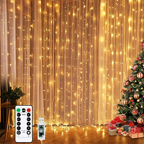 LED Curtain Lights, Window Curtain Fairy Twinkle Lights 3mx3m 300leds USB Operated 8 Modes Icicle LED String Lights with Remote & Timer for Indoor Xmas Party Home Garden Decoration(Warm White)