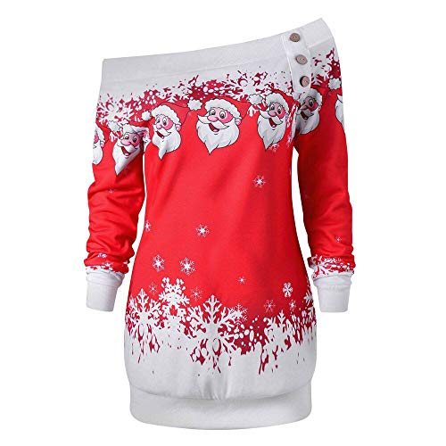 VEMOW Weihnachten Damen Bluse Übergröße Weihnachtspullover Frauen Langarmshirt Santa Claus und Schnee Druck Sweatshirtt(X-rot_1,5XL)