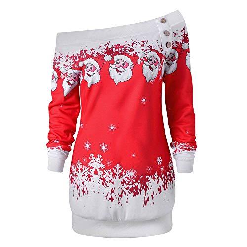 LILIGOD Damen Weihnachten Top Langarm Bluse Tops Plus Size Sweatshirt Christmas Santa Lange Hülsen Pullover Print Tasten Tunika Lange...