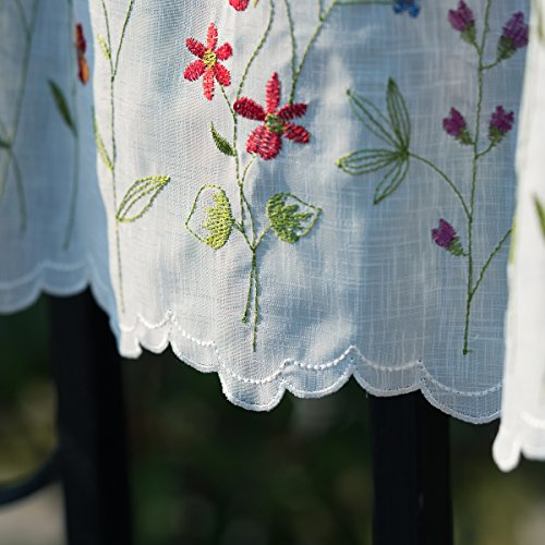 WEMAY Sheer Embroidery Pastoral Style Cafe Curtain Kitchen Curtain Floral Window Valance,W60XL18 inch (Wild Flower) …