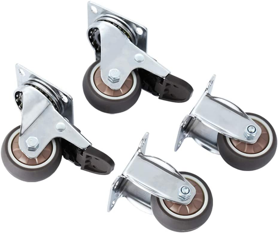 Plate Casters 2-inch Dual-Bearing D Silent free shipping Combined PU excellence