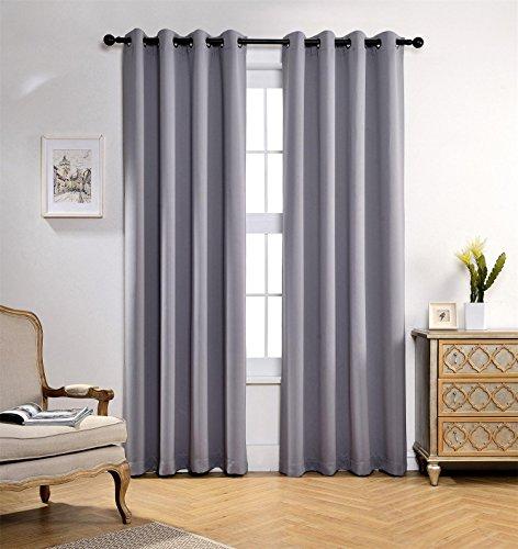MIUCO Room Darkening Soild Grommet Blackout Curtains for Kids Bedroom Window Curtains Set of 2 52x84 Inch Silver, Bonus 2 Tie Backs Included