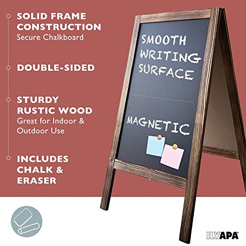 Wooden A-Frame Sign with Eraser & Chalk - 40 x 20 Inches Magnetic Sidewalk Chalkboard – Sturdy Freestanding Sandwich Board Menu Display for Restaurant, Business or Wedding