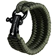 The Friendly Swede Trilobite Extra Beefy 550 lb Paracord Survival Bracelet with Stainless Steel Black Bow Shackle, Available in 3 Adjustable Sizes