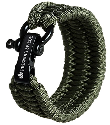 The Friendly Swede Trilobite Extra Beefy 550 lb Paracord Survival Bracelet with Stainless Steel Black Bow Shackle, Available in 3 Adjustable Sizes (Army Green, fits 8.5'-9.8' Wrists)