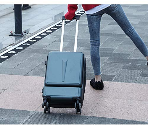 ADDG Creative Trolley Suitcase Rolling Luggage Spinner On Wheel Business Cabin Travel Luggage With Laptop Bag,Green,24 inches