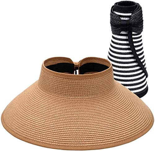 ACIL Rollable Ladies Wide Brim Straw Sun Visor Hat, Foldable Summer Topless Sunhats for Womens Adjustable UV Visor with Bowknot,2 Pack-BlackStripe & Khaki,One Size