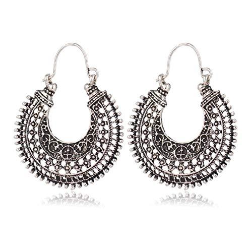 LPZW 2021 Hot Antique Boho Hollow-out Gypsy Tribal Indian Drop Earrings for Women Mandala Earrings Vintage Fashion Jewelry (Metal Color : ES3669 Silver)