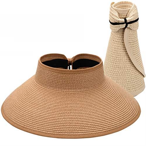 Maylisacc 2 Pezzi Cappello con Visiera Estiva in Paglia a Tesa Larga Cappellini da Donna con Protezione Solare UV Open Top Packable (Khaki + Crema)