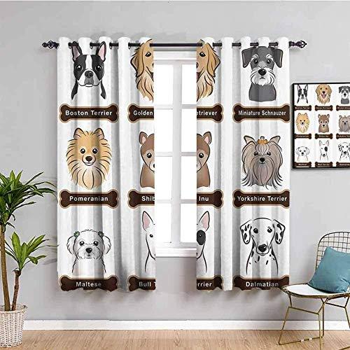 Nileco Cortinas Opacas Termicas - Dibujos animados lindo animal perro - 160x115 cm - Cortinas del Dormitorio de la Habitación de los Niños - 3D Impresión Digital con Ojales Aislamiento Térmico