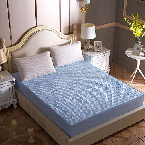 GUANLIDE Juego de sábanas,Agregue sábanas de algodón, sábanas Ajustables, Funda de colchón elástica, Colcha de Ropa de Cama Doble Full Queen King @ Water Blue_100 * 200 + 30cm