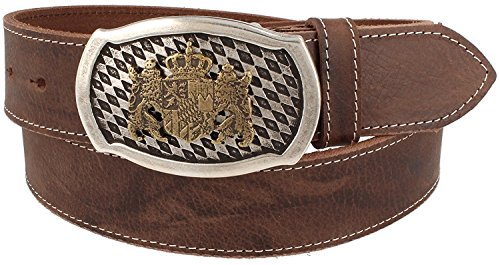 Trachtenkönig Trachtenkönig Trachtengürtel Original Unisex zur Lederhose Bayern Wappen Kürzbar (95 cm, Dunkelbraun (Vollrindleder))_TK05_01_M_95