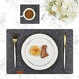 Famibay Filz Tischsets und Untersetzer Abwaschbar Platzsets 6er Set Tischuntersetzer Platzdeckchen Dunkelgrau Filzuntersetzer Filzmatte (Tiefgrau) - 3