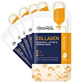 MEDIHEAL Official [Korea's No 1 Sheet Mask] - 5 Pack Collagen Essential Lifting & Firming Mask / Collagen & Peptides & Beta Glucan Contained Anti-Wrinkle and Soothing Facial Mask Sheet