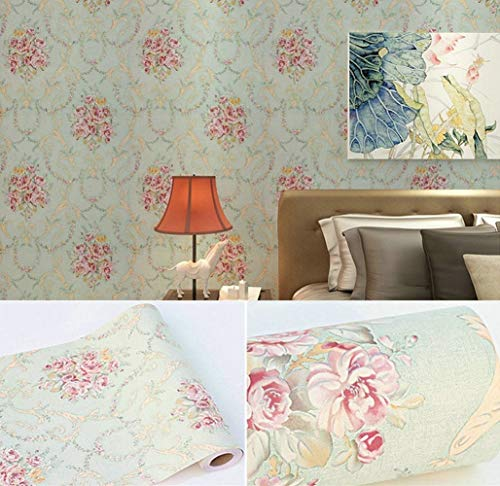 """Vintage Rose Peel and Stick Wallpaper Self Adhesive Contact Paper Floral Removable Shelf Liner Decorative Roll 17.7"""" x 393"""""""