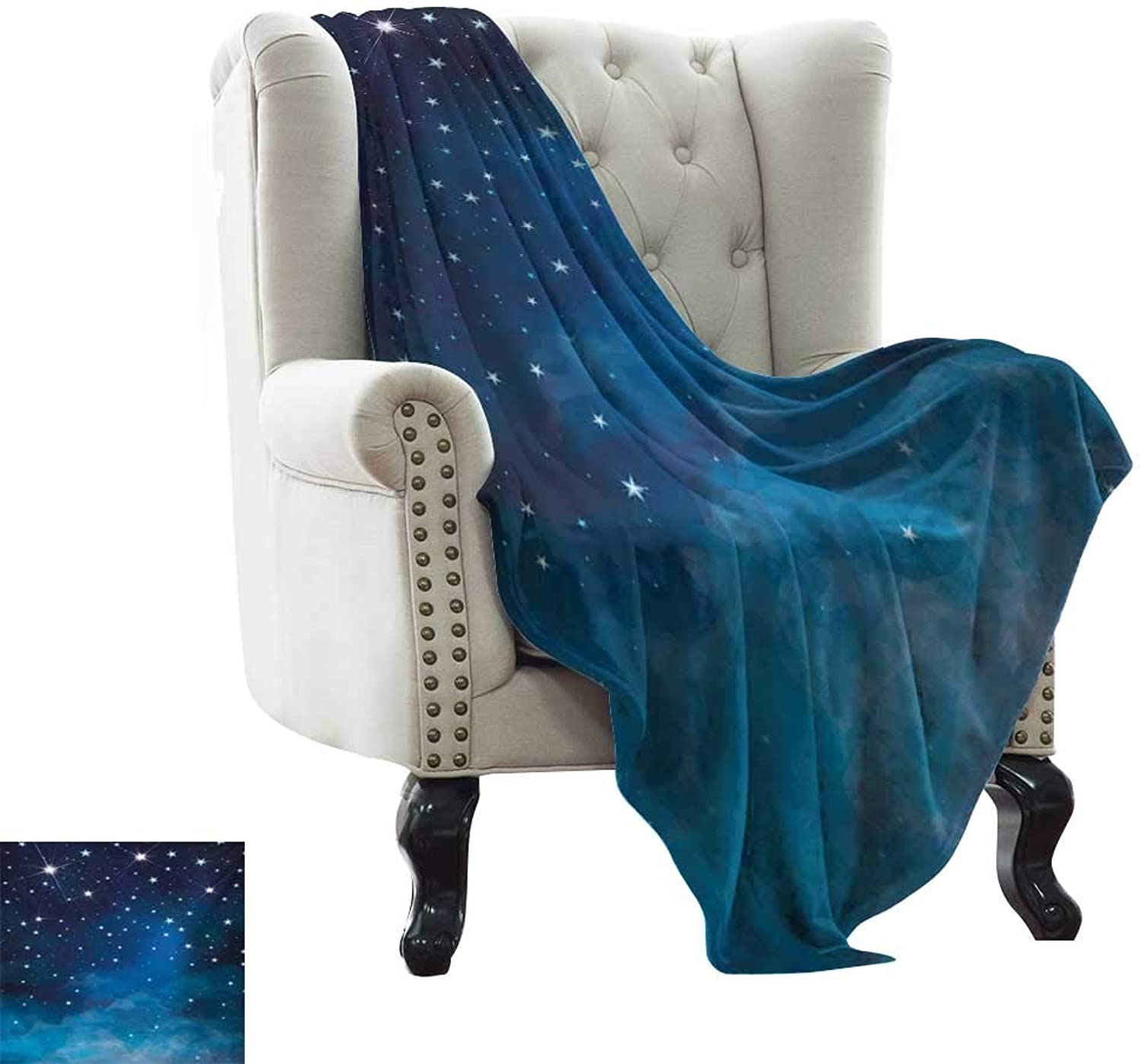 BelleAckerman Weighted Blanket for Kids Night,Vibrant Star in Abstract Ombre Style Sky Astronomy Themed Graphic,Pale bluee Dark bluee White Lightweight Microfiber,All Season for Couch or Bed 50 x60