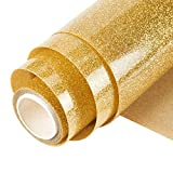 Topmail PVC Transferencia de Calor Vinilo Máquina de Prensa de Calor Corte Plotter Cortador Camiseta Papel de Lámina DIY 25 x 160 cm (Dorado)