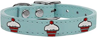 Mirage Pet Products 83-119 BBL10 Red Cupcake Widget Genuine Leather Dog Collar, Size 10, Baby Blue