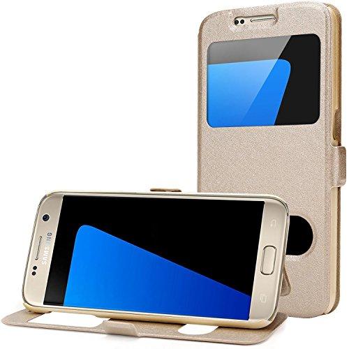 ISUDA Samsung Galaxy S7 Hülle, Ansicht Flip Tasche Samsung Galaxy S7 mit Standfunktion (Samsung Galaxy S7, golden)